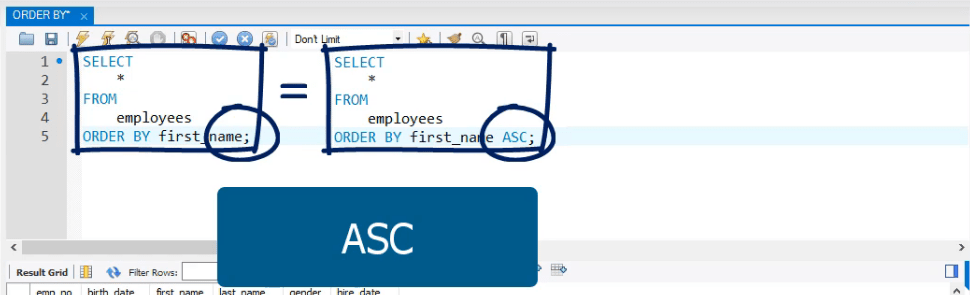 ASC organizes in ascending order