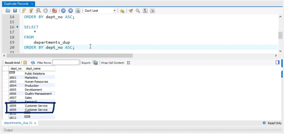 Customer Service department is shown twice, duplicate records in sql