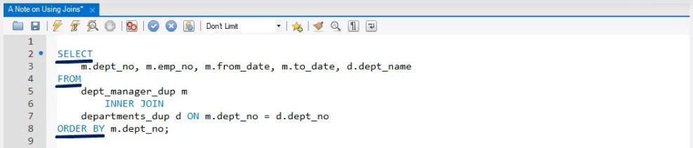 Top down flow, joins syntax in sql