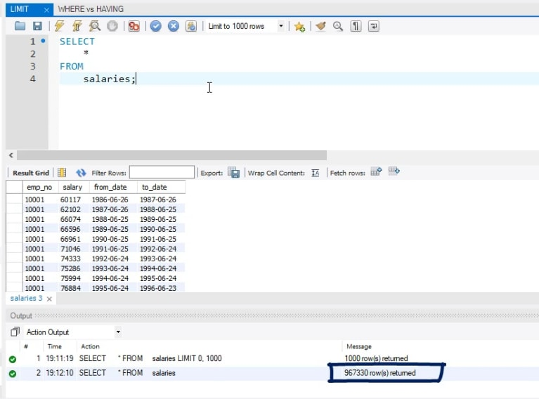 967330 rows returned, limit statement in sql