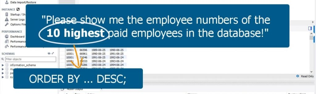 10 highest paid employees, limit statement in sql