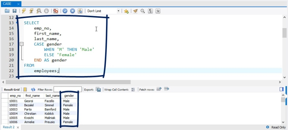 select gender, sql case statement