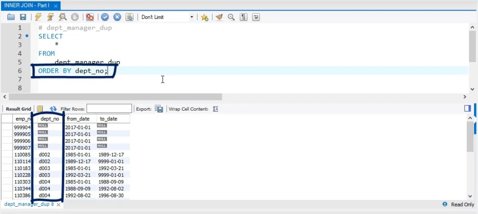 Which records contain data and which don't, inner join in sql