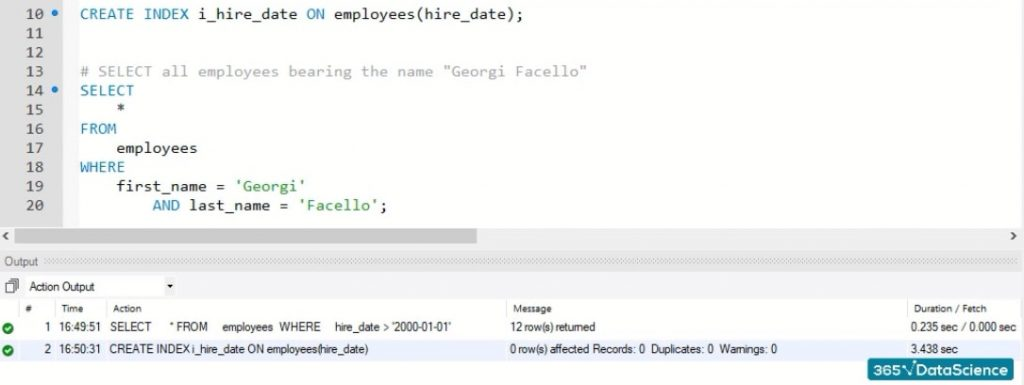 """index with a name starting with """"I"""", indexes in mysql"""