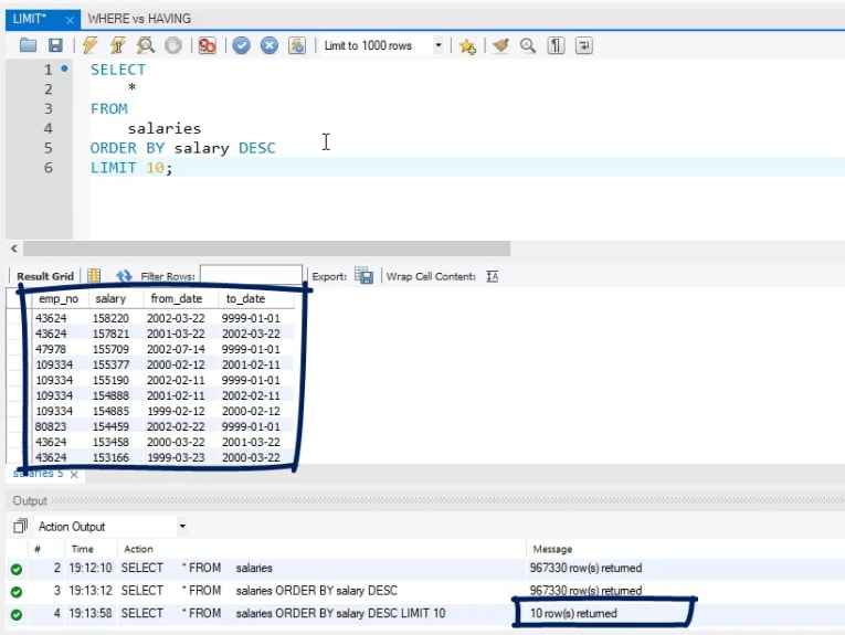10 rows returned, limit statement in sql