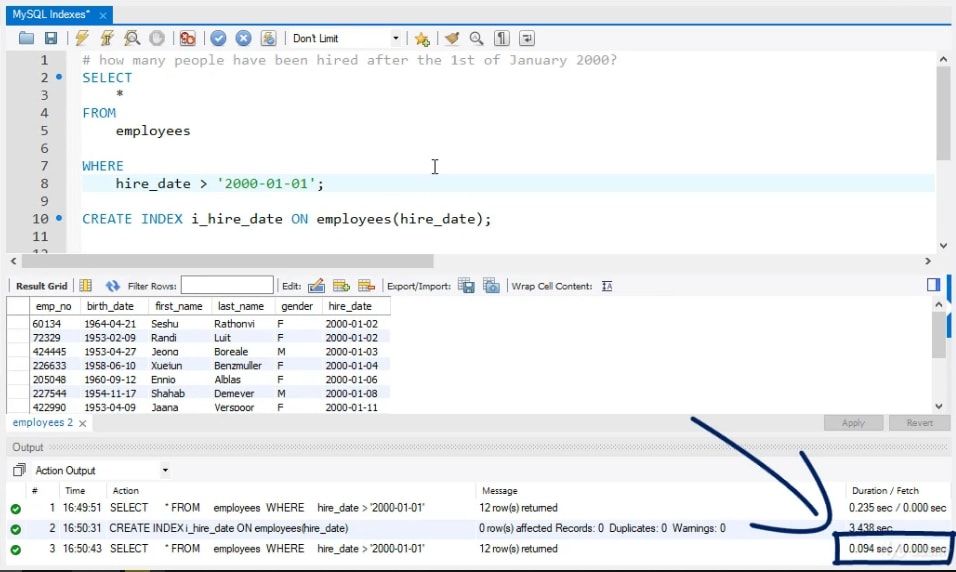 0.094 sec, indexes in mysql
