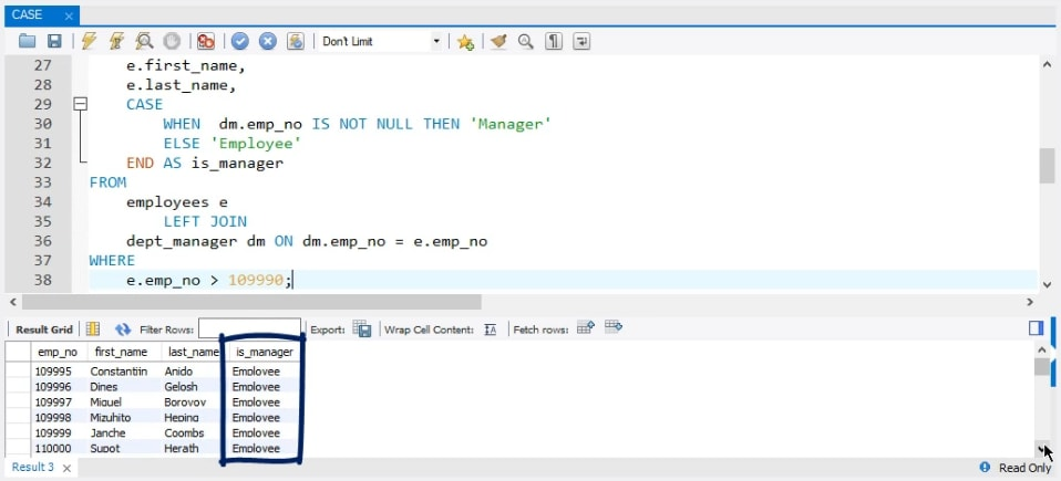 is manager, sql case statement
