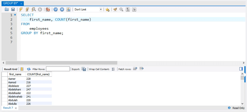 Insert 'first name' to get the names, sql group by