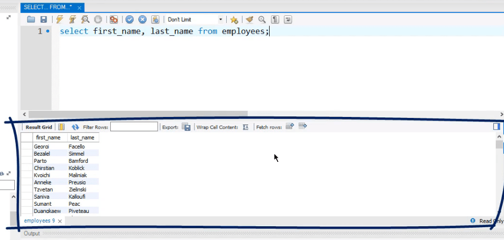select first name, last name from employees, operators in sql