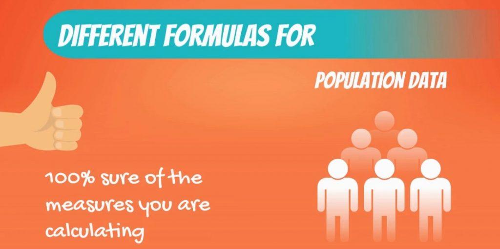 different formulas for population data-variability, coefficient of variation