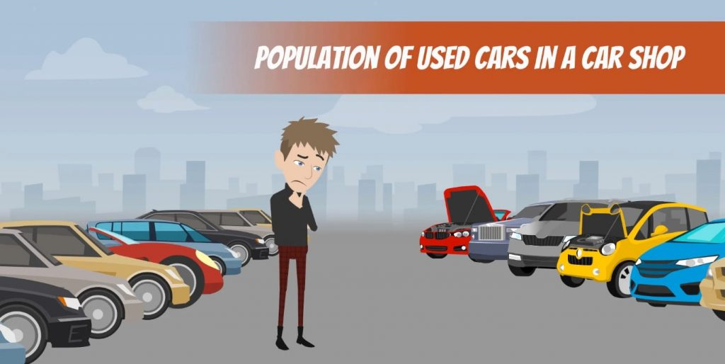 Population of used cars, central limit theorem