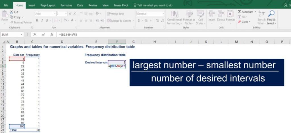 number of desired intervals