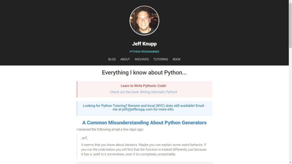 Jeff Knupp data science blog