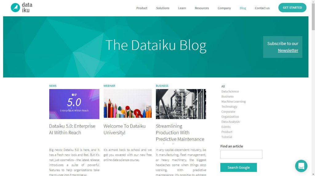 Dataiku data science blog