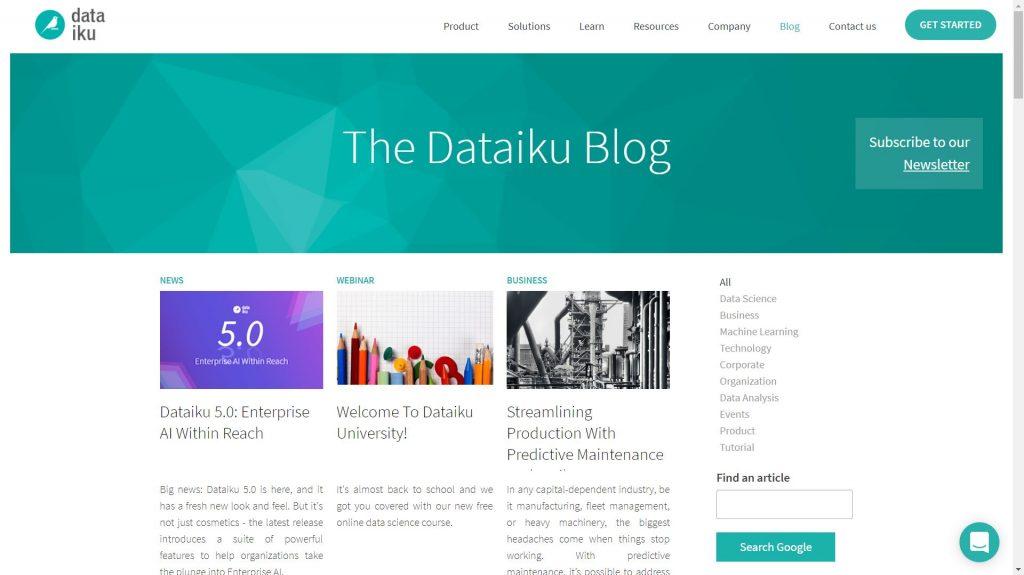 Dataiku data science blog