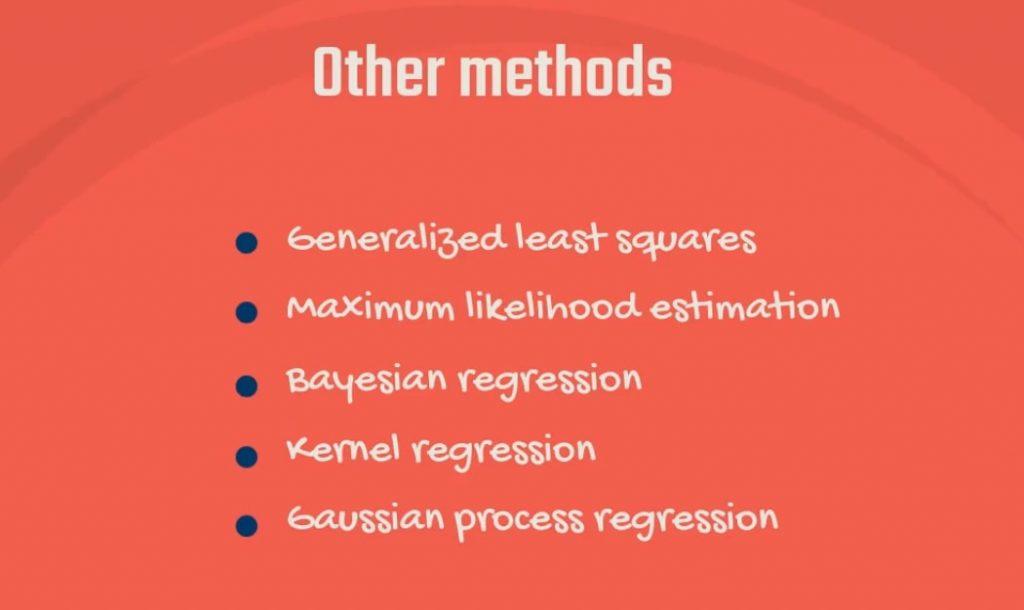 Exa,ples of alternative methods to the Ordinary Least Squares: Generalized least squares, Maximum likelihood estimation, Bayesian regression, Kernel regression, and Gaussian process regression