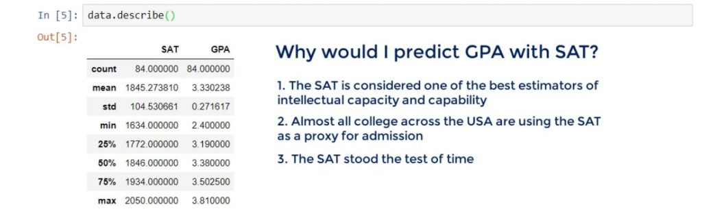 Why would I predict GPA with SAT, linear regression