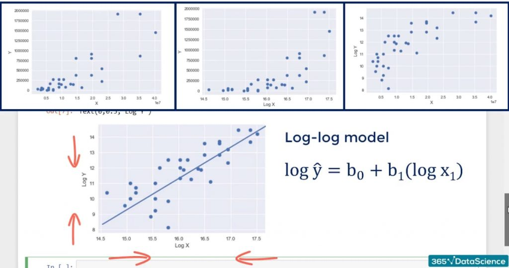 Example of log transformation: log-log model formula