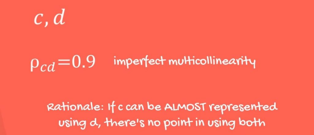 Imperfect multicollinearity rationale: if c can be almost represented by using d, there is no point in using both