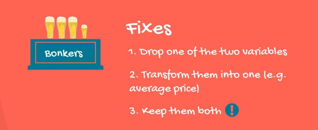 Example of three types of fixes to multicollinearity