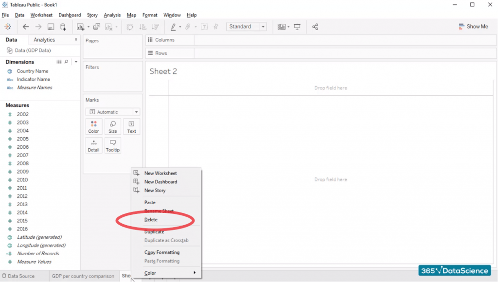 "Option ""delete"", duplicate sheets in tableau"