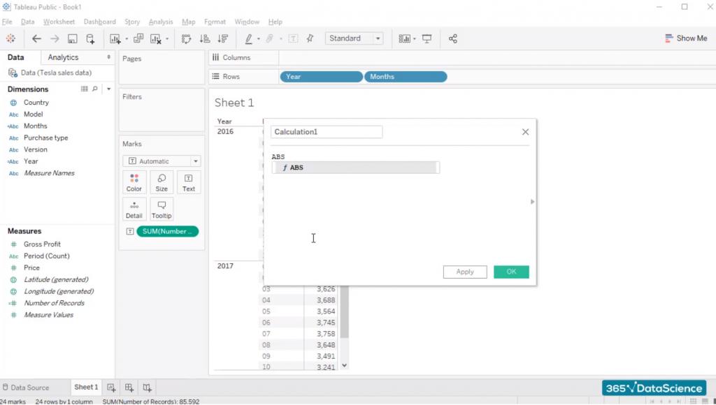 create a calculated field, custom fields in tableau