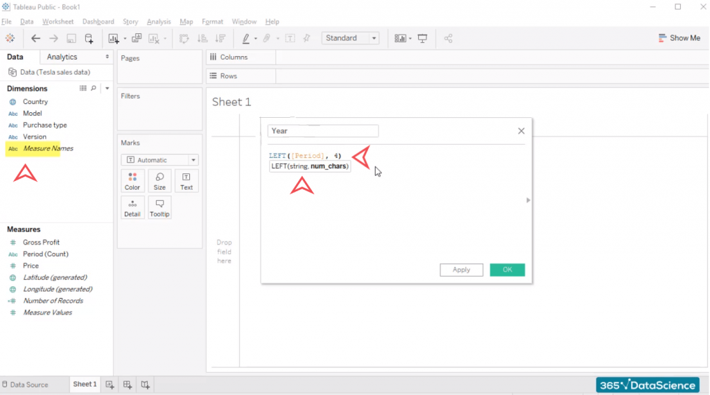 Left function, create a table in tableau