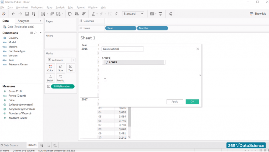 lower formula, custom fields in tableau