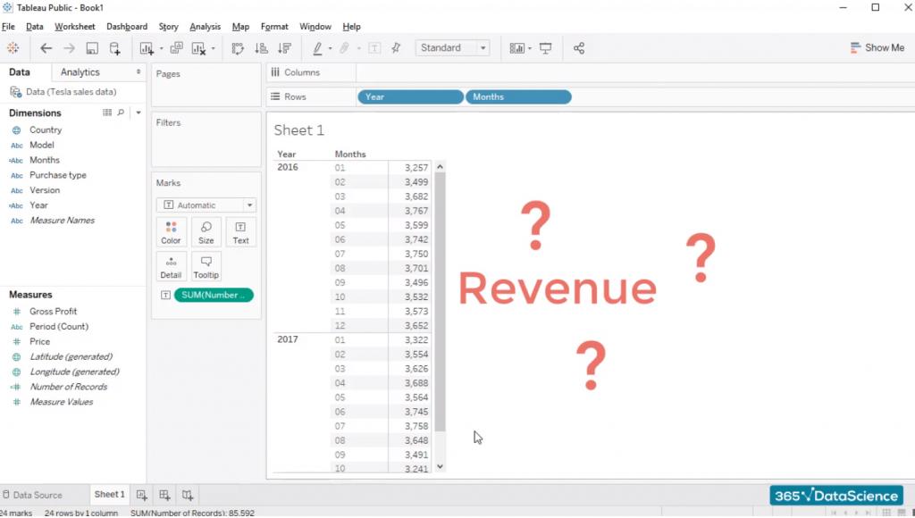 revenue, custom fields in tableau