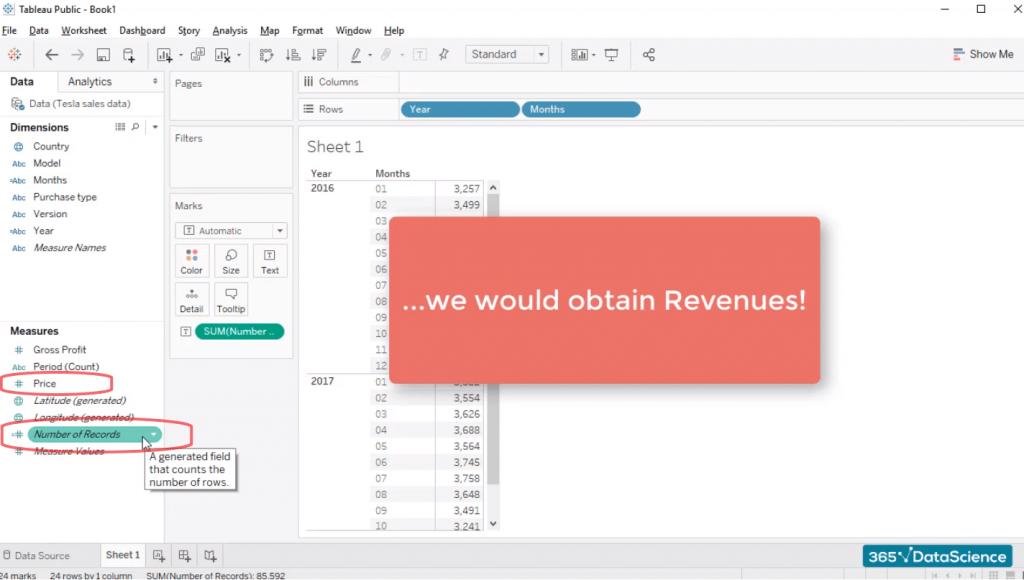 obtain revenue, custom fields in tableau