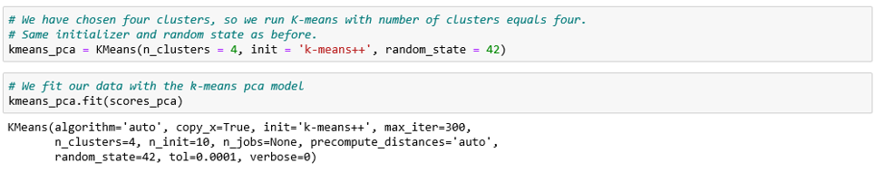 Running K-means with four clusters.