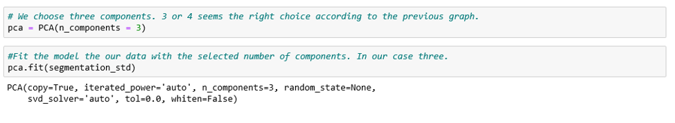 Performing PCA on three chosen components.