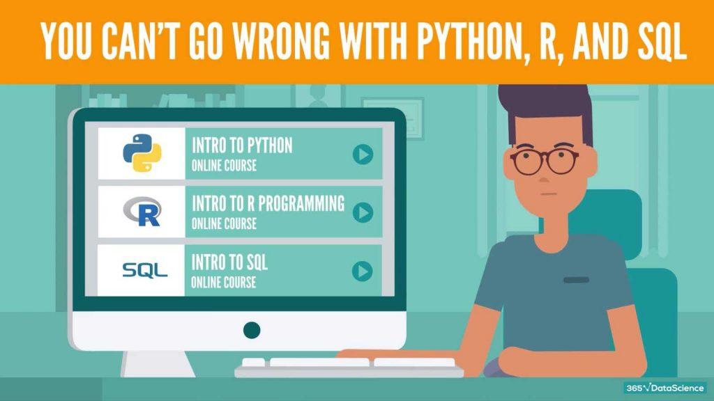 python, r, sql