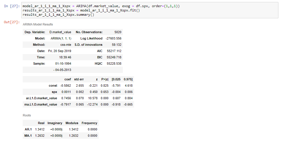 Example of summary table with ARIMAX model results