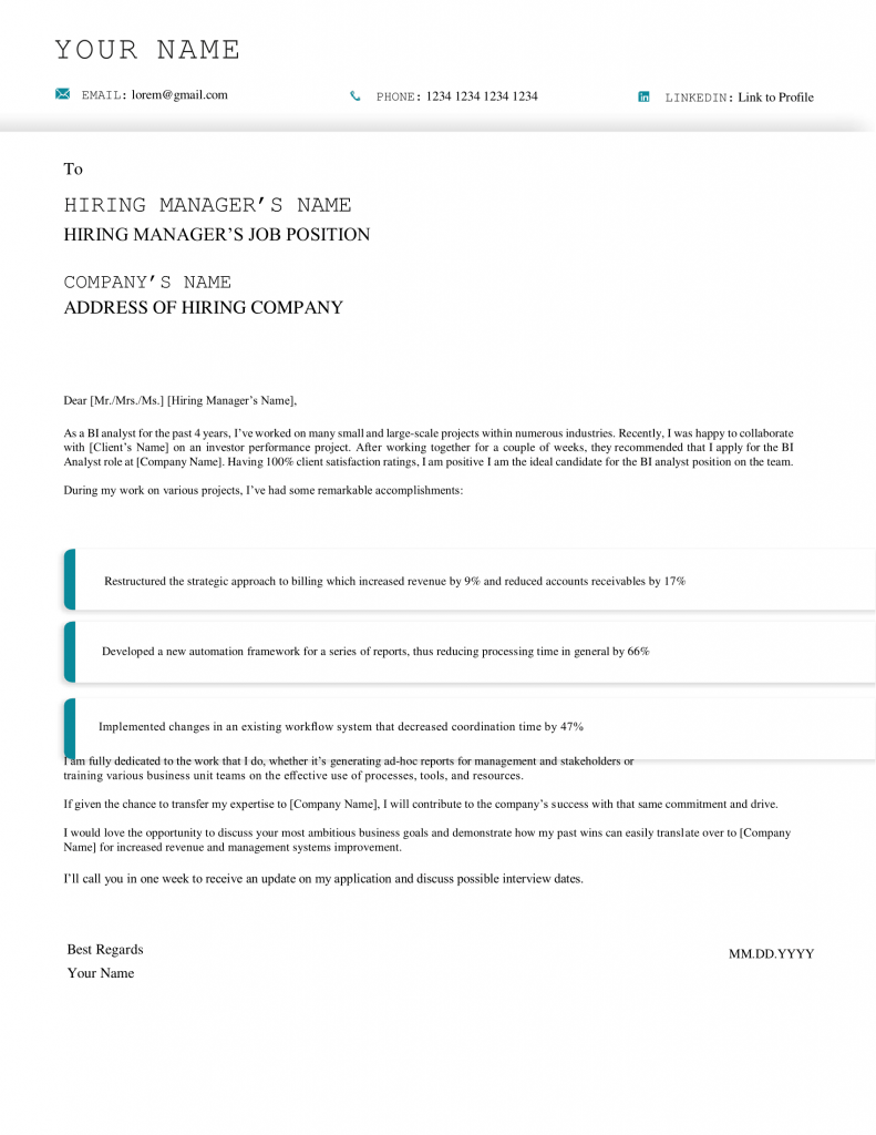 bi analyst cover letter template  365 data science