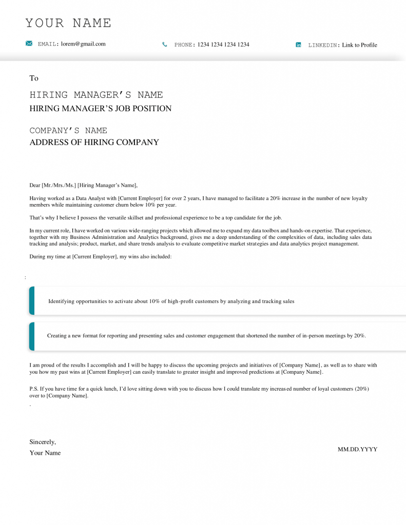 data analyst cover letter downloadable template