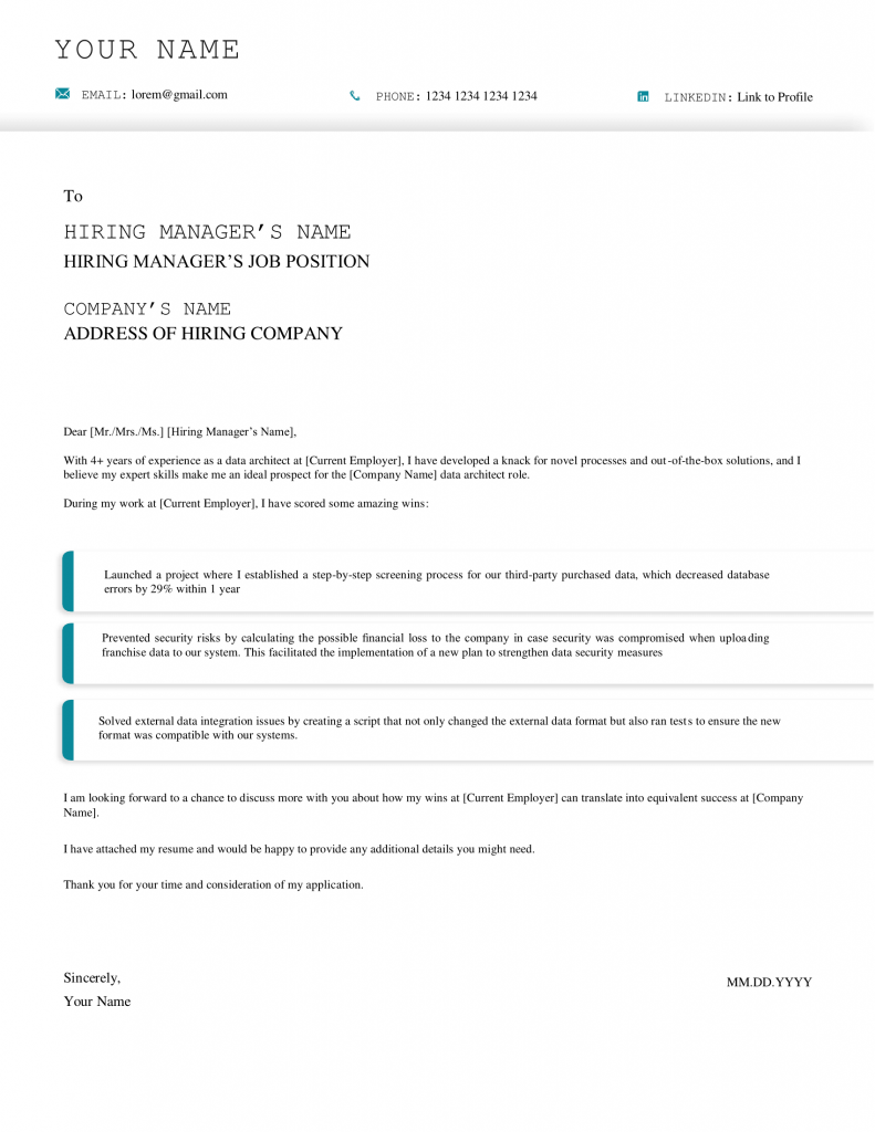 data architect cover letter downloadable template