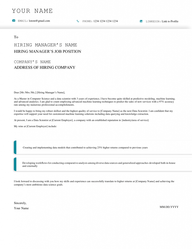 data scientist cover letter example and template
