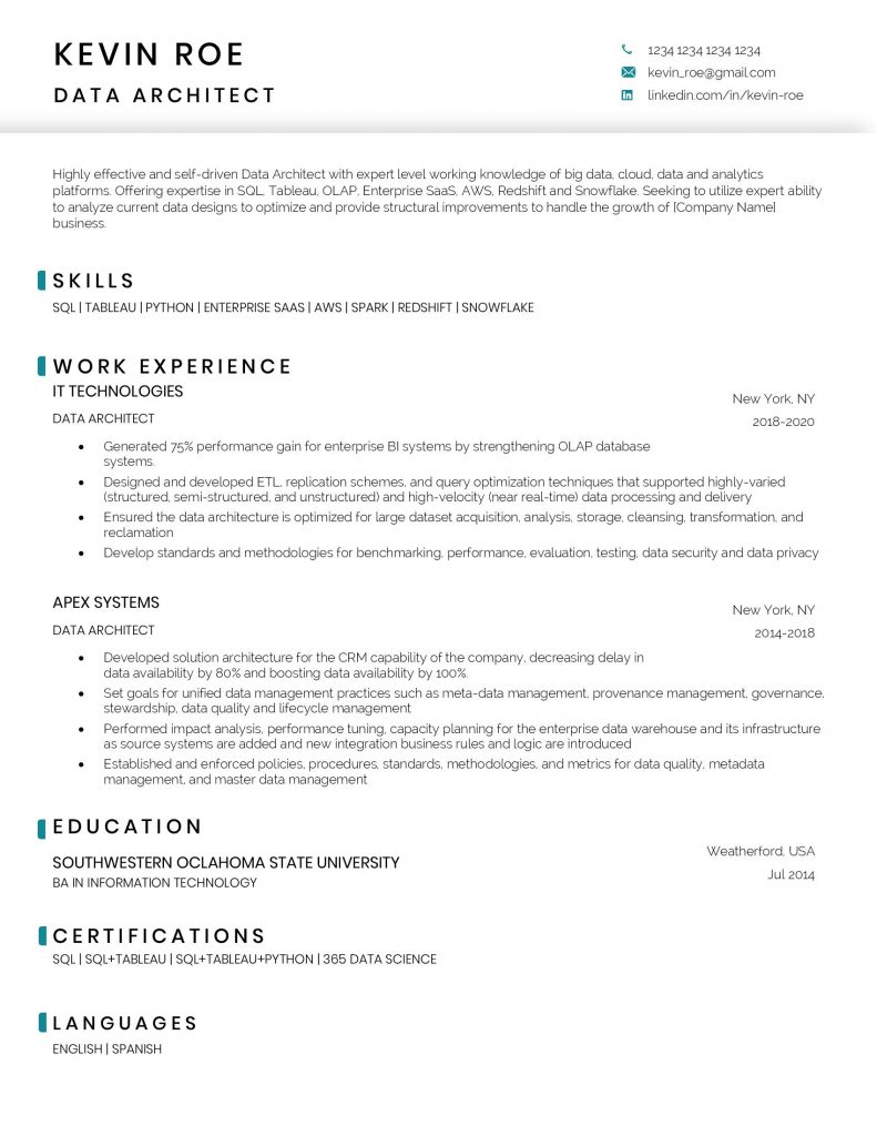 Data architect resume sample