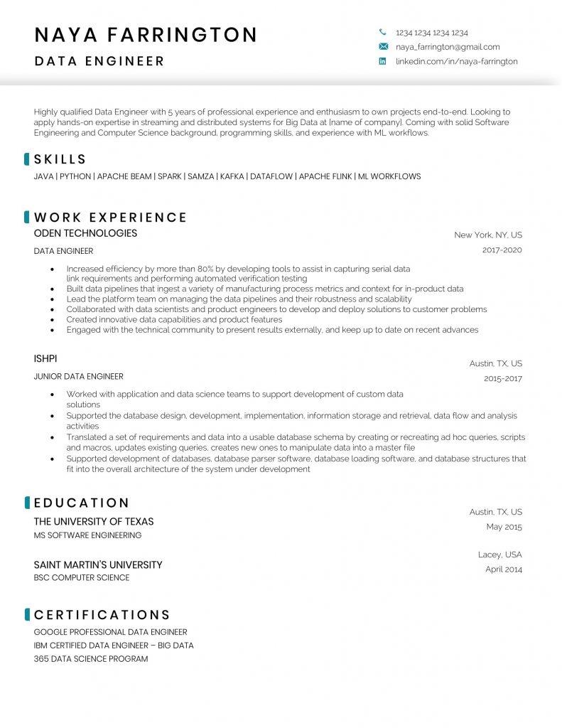 Data engineer resume sample