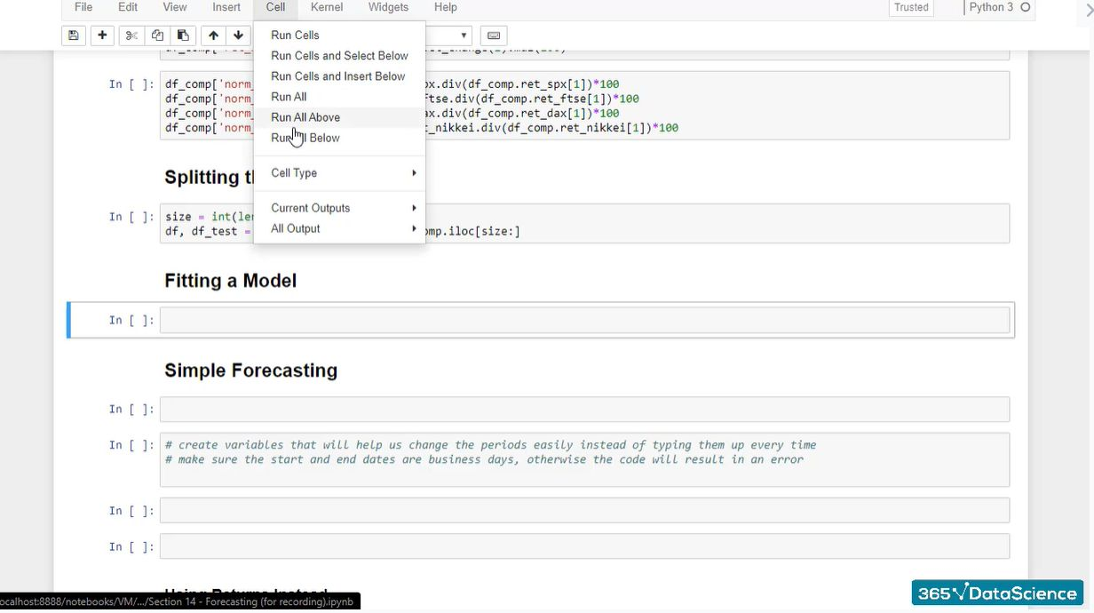 Running a code from a pre-loaded dataset in Python using the Run All Above command.