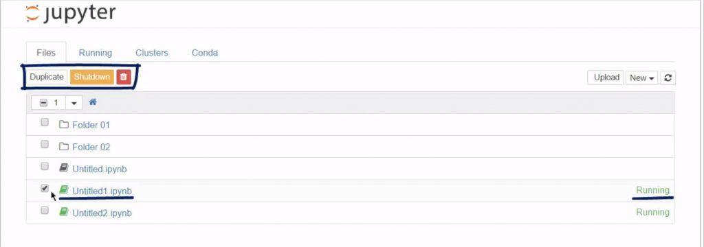Duplicate, shotdown, rename, or delete an item in the Jupyter Dashboard
