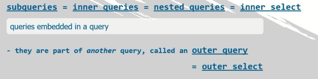 outer select, SQL subqueries