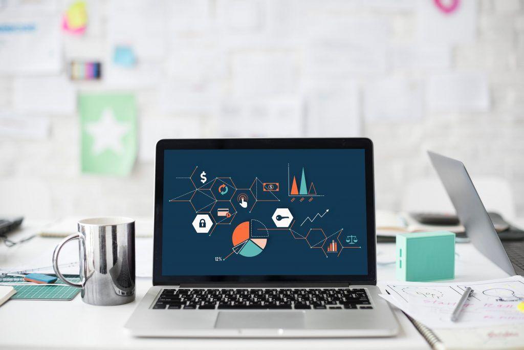 Laptop with data, data science internship