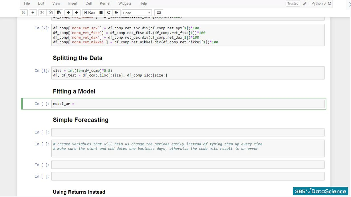 Preparing to fit an autoregressive model in Python for time series forecasting purposes.