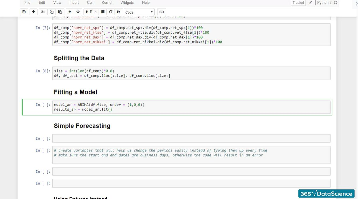 Storing the fitted results of a time series forecasting ARIMA model in Python.