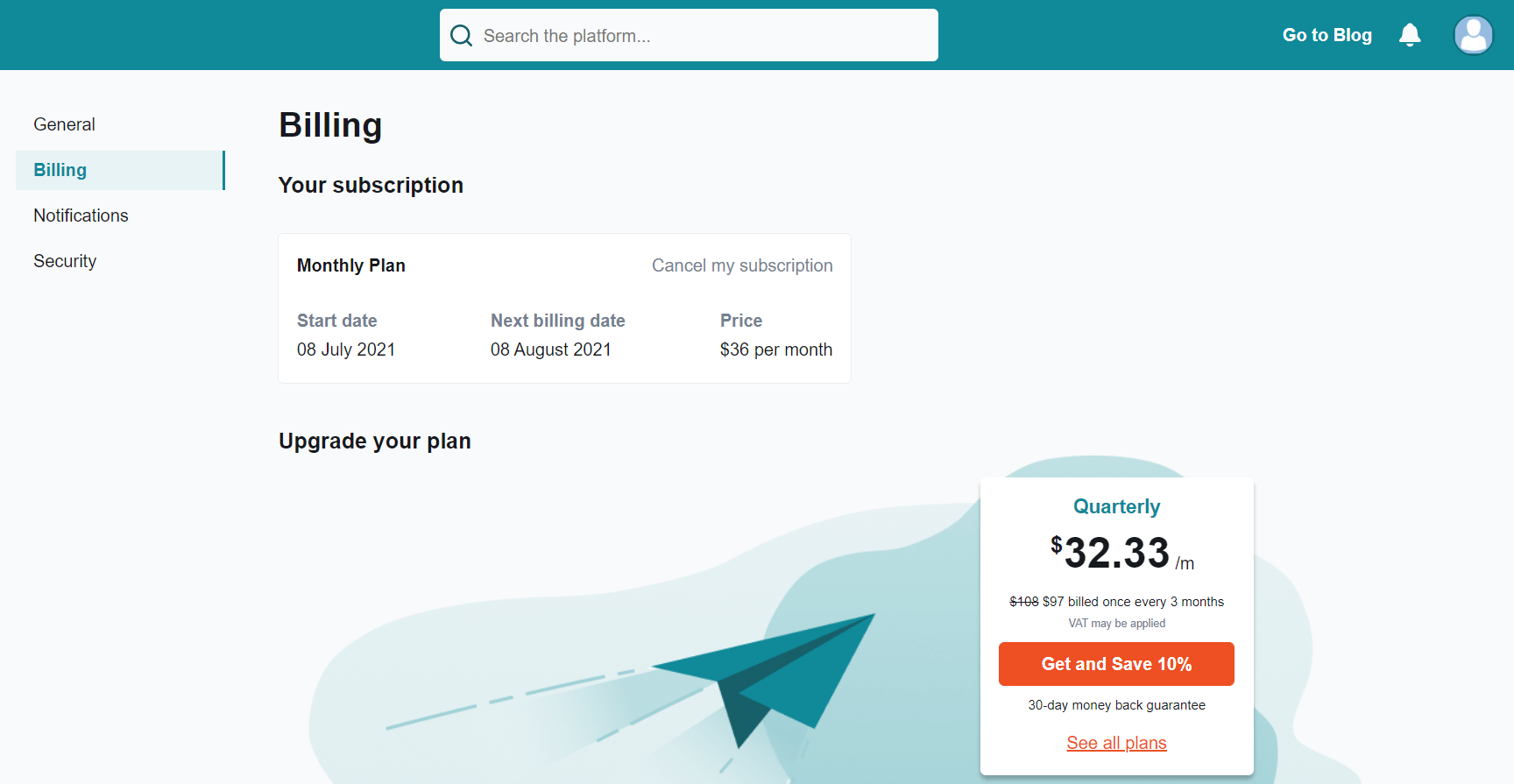 Your subscription screenshot