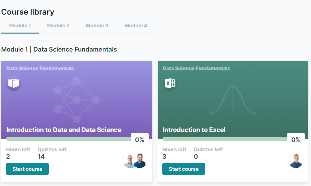 Course library screenshot