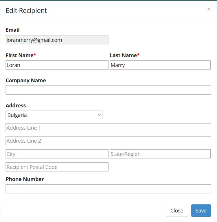 Edit recipient screenshot