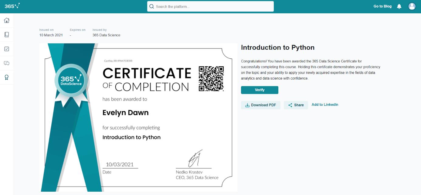 Course-specific certificate screenshot